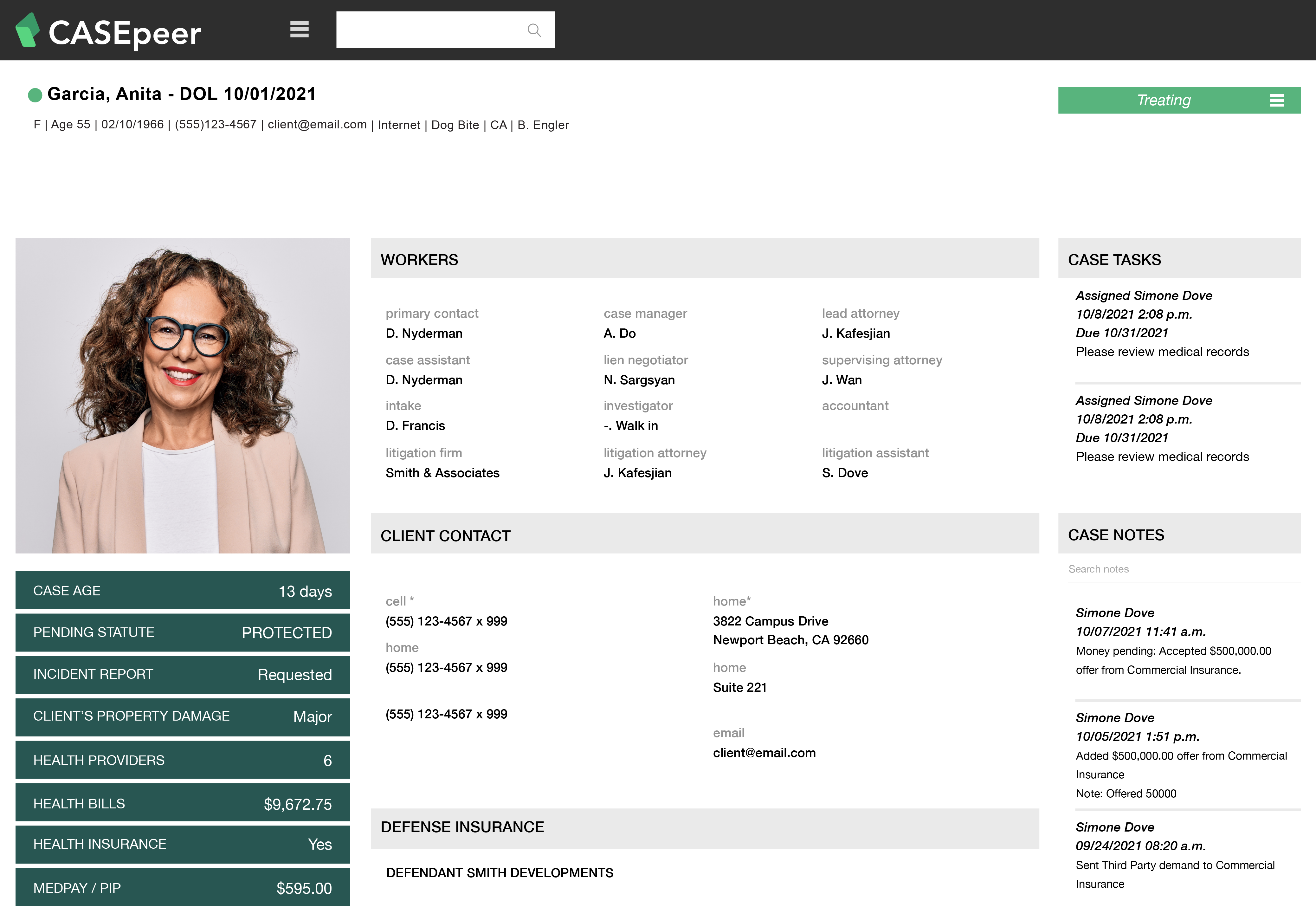 CASEpeer Client Portal with Woman Smiling